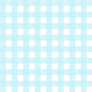 Striped Gingham Block Print in Baby Blue