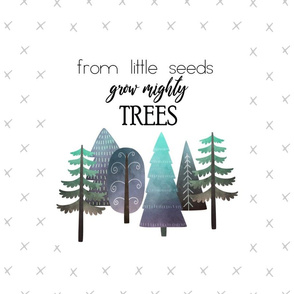 "18X21"" NAVY & MINT From Little Seed Grow Mighty Trees - Pillow Panel - KONA SIZE"