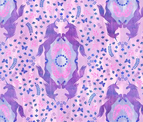 Unicorn Damask light purple fabric by schatzibrown on Spoonflower - custom fabric