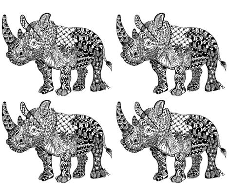 My little Rhino fabric by octobercatstudios on Spoonflower - custom fabric