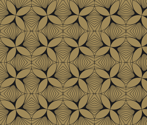 Floral Diamond Twist Charcoal on Gold fabric by anvil_studio on Spoonflower - custom fabric