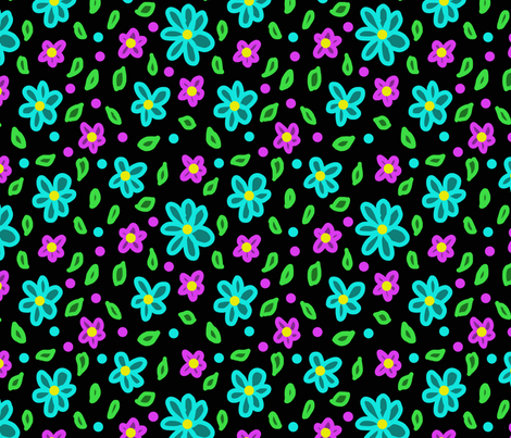 neon floral 2 fabric by leroyj on Spoonflower - custom fabric