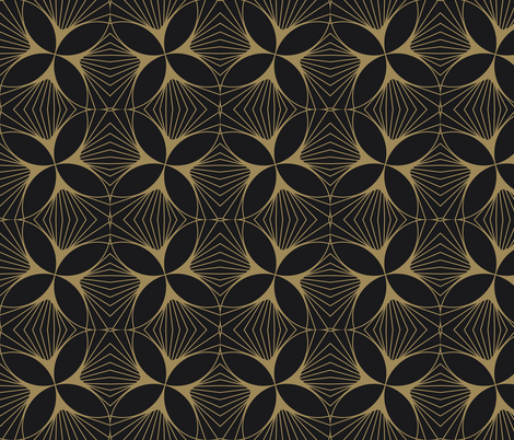 Floral Diamond Twist Gold on Charcoal fabric by anvil_studio on Spoonflower - custom fabric