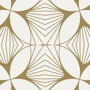 Floral Diamond Twist Gold on White