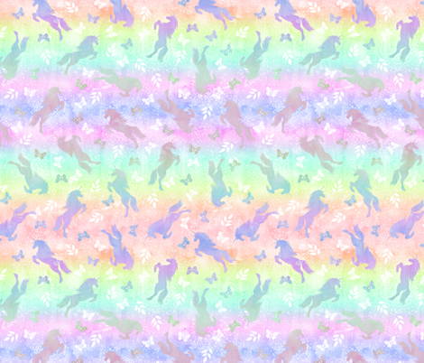 Unicorn toss rainbow ombre fabric by schatzibrown on Spoonflower - custom fabric