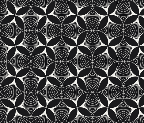 Floral Diamond Twist White on Charcoal fabric by anvil_studio on Spoonflower - custom fabric