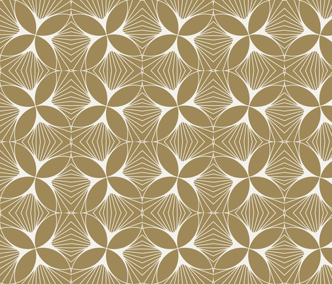 Floral Diamond Twist White on Gold fabric by anvil_studio on Spoonflower - custom fabric