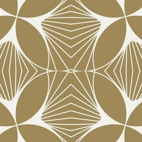 Floral Diamond Twist White on Gold