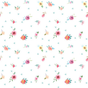 French Country Flowers and Mint Dots