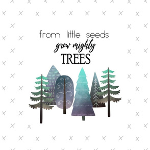 "18X27"" NAVY & MINT From Little Seed Grow Mighty Trees - MINKY SIZE"