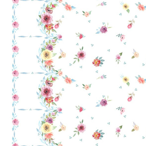 French Country Floral Border-Dots-Flowers