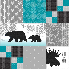 Camp Yellowstone Cheater Quilt – Bears Moose Wholecloth – Black Gray Teal Design