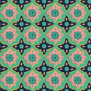 Wild and Free Navy Pink and Green Moroccan tile