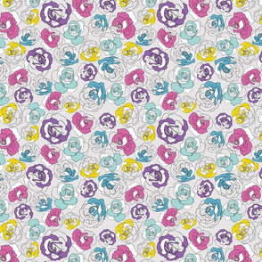 Graphic flowers on grey