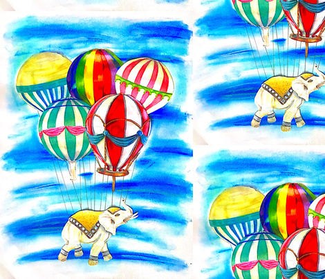 Nelly in the Sky  fabric by barbarellarose on Spoonflower - custom fabric