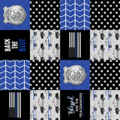 "(1.5"" small scale)  Police Patchwork - Blessed are the peacemakers - thin blue line - back the blue wholecloth (90) C18BS"