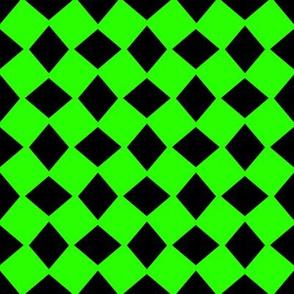 Wonky Neon Green Harlequin