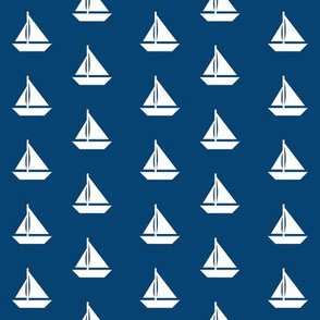 White Sailboats Navy Blue Alternating Rows