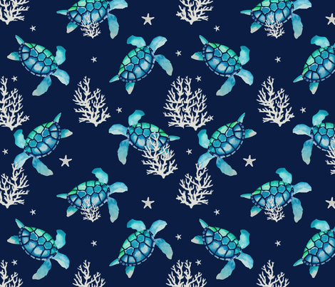 Long live the Hawksbill Sea Turtles fabric by anna_elizabeth_ on Spoonflower - custom fabric