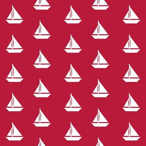White Sailboats on Red Alternating Rows