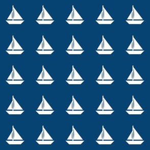 White Sailboats Navy Blue Even Rows