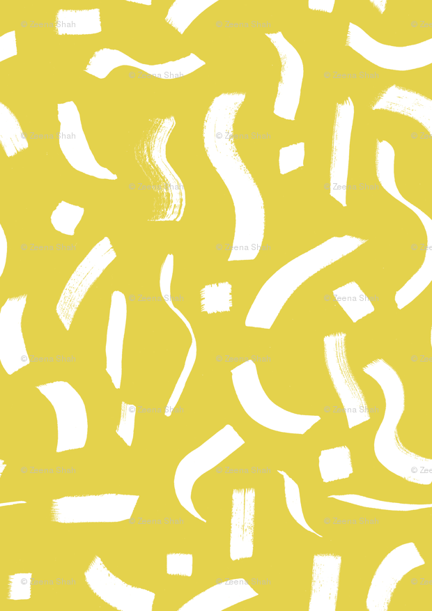 Brush Marks Yellow wallpaper - heart_zeena - Spoonflower