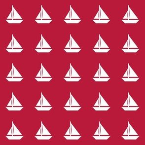 White Sailboats Red Even Rows