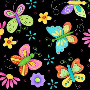 Butterfly Garden Whimsy Black Large