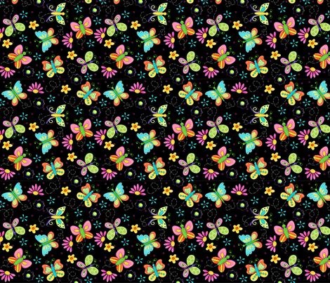 Butterfly Garden Whimsy Black Small fabric by phyllisdobbs on Spoonflower - custom fabric