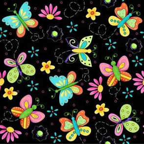Butterfly Garden Whimsy Black Small