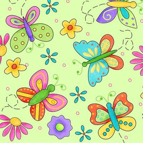Butterfly Garden Whimsy Green Large