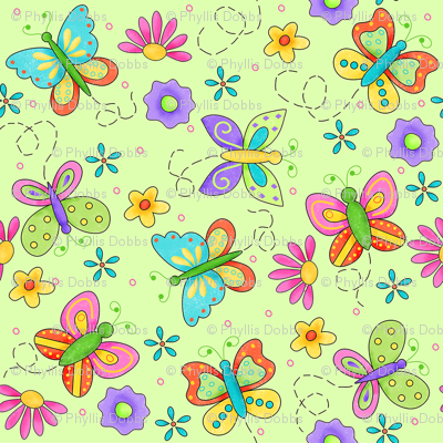 Butterfly Garden Whimsy Green Small