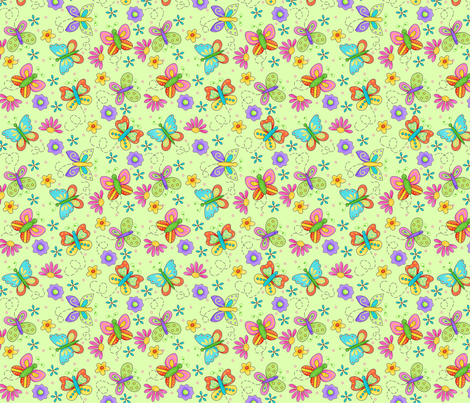 Butterfly Garden Whimsy Green Small fabric by phyllisdobbs on Spoonflower - custom fabric