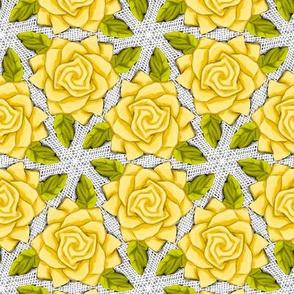 Yellow Roses on Mesh