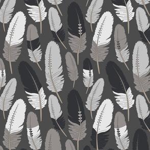 Boho Feathers Gray