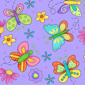 Butterfly Garden Whimsy Periwinkle Purple Large