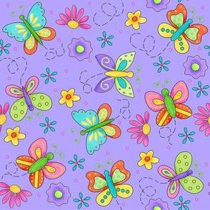 Butterfly Garden Whimsy Periwinkle Purple Small