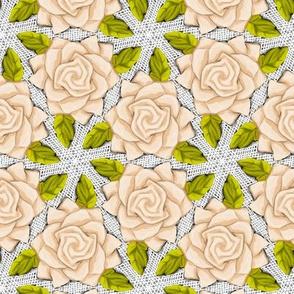 Ivory Roses on Mesh