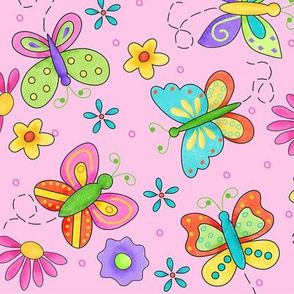 Butterfly Garden Whimsy Pink Large