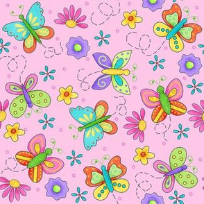 Butterfly Garden Whimsy Pink Small