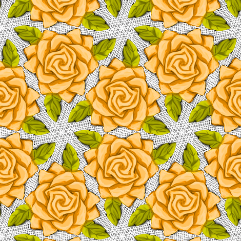 Orange Roses on Mesh fabric by eclectic_house on Spoonflower - custom fabric