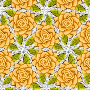 Orange Roses on Mesh