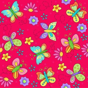 Butterfly Garden Whimsy Red Small