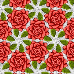 Red Roses on Mesh