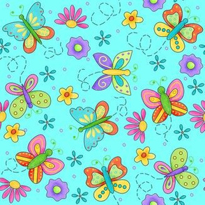 Butterfly Garden Whimsy Turquoise Blue Small