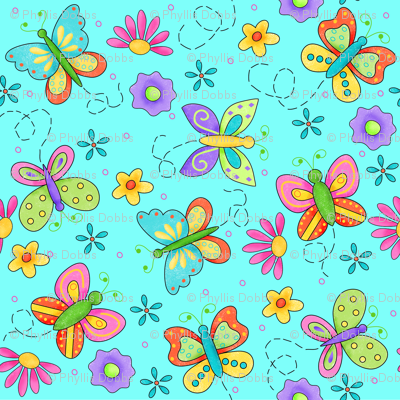 Butterfly Garden Whimsy Turquoise Blue Large