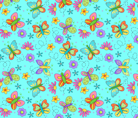 Butterfly Garden Whimsy Turquoise Blue Large fabric by phyllisdobbs on Spoonflower - custom fabric