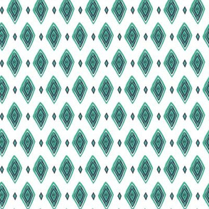 Wild and Free white, turquoise and navy diamond pattern