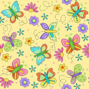 Butterfly Garden Whimsy Yellow Small