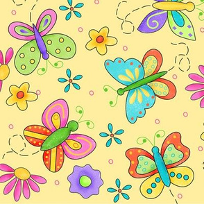 Butterfly Garden Whimsy Yellow Large